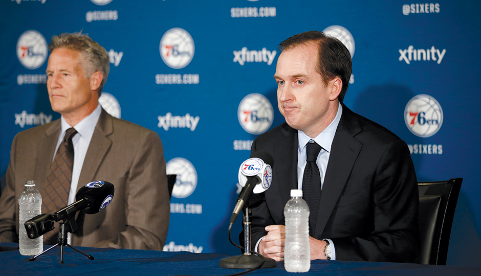 General manager Sam Hinkie holds a rare press conference. Photo courtesy of the Associated Press.