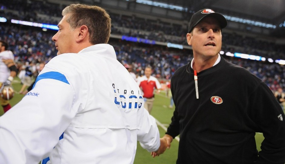 Jim Schwartz and Jim Harbaugh. (USA Today Sports)