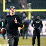 Dec 14, 2014; Philadelphia, PA, USA; Philadelphia Eagles quarterback Nick Foles (9) during warmups before game against the Dallas Cowboys at Lincoln Financial Field.