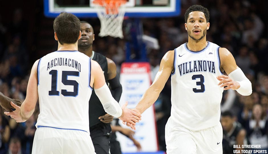 Villanova Wildcats guard Josh Hart (3) reacts with guard Ryan Arcidiacono (15) after a score against the Providence Friars during the second half at Wells Fargo Center on January 24th. The Providence Friars won 82-76 in overtime.