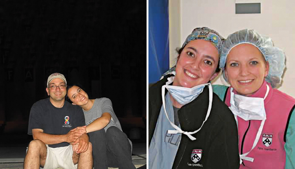 Amy Reed and her sister, Alison, as residents at Penn; the couple in 2011. Photographs courtesy of Hooman Noorchashm.