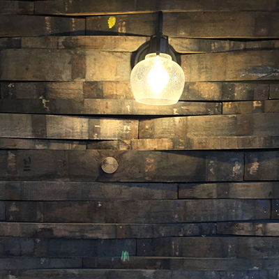 Wall made of barrel staves