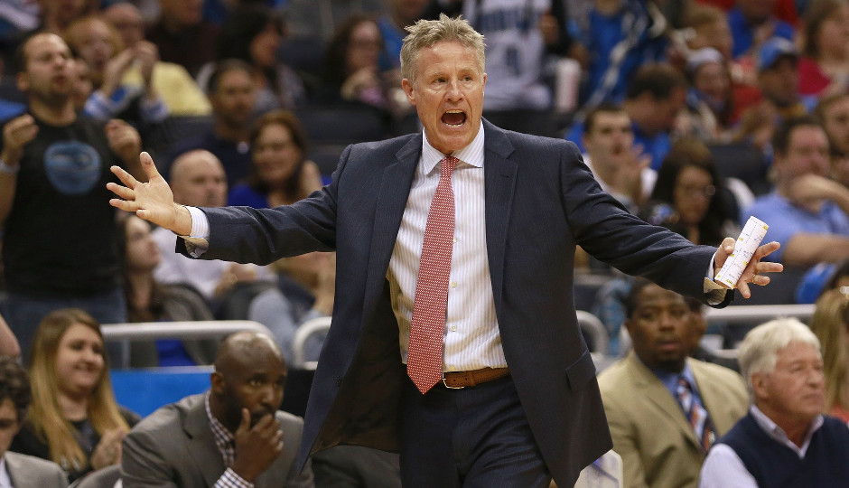 Sixers head coach Brett Brown yells at his team during their 130-116 loss to the Orlando Magic | Kim Klement-USA TODAY Sports