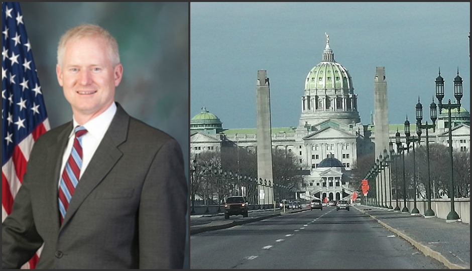 Left: Rep. Dave Parker. Right: Pennsylvania state capitol. (Capitol picture: Ron Harper Jr., Wikimedia Commons)