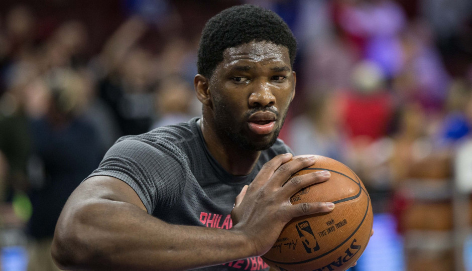 Joel Embiid practices before the Sixers played the Los Angeles Clippers on February 8th, 2016 | Bill Streicher-USA TODAY Sports