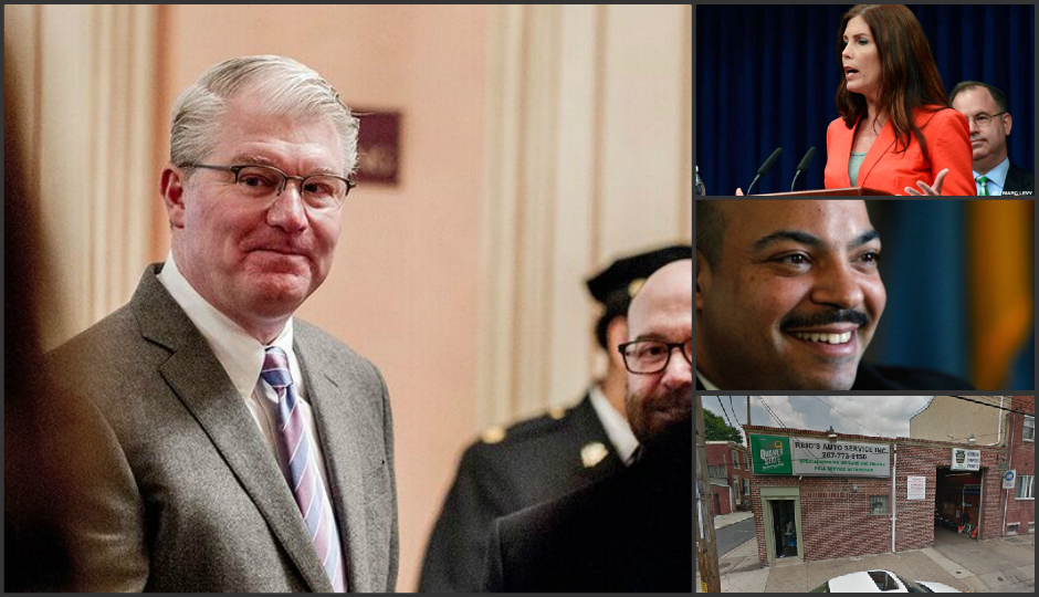 Clockwise from left: John Dougherty, Kathleen Kane, Seth Williams, and Reid's Auto Service.