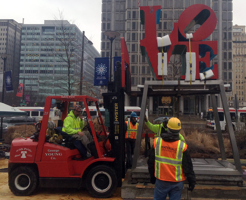 Love sculpture moved into Dilworth Park