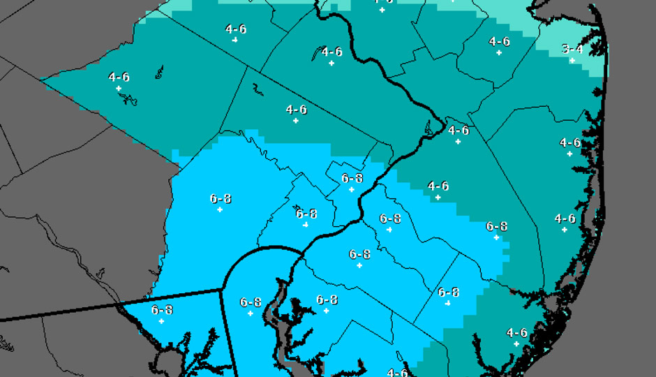 NWS forecast - February 8th/9th - Philadelphia/Mt. Holly