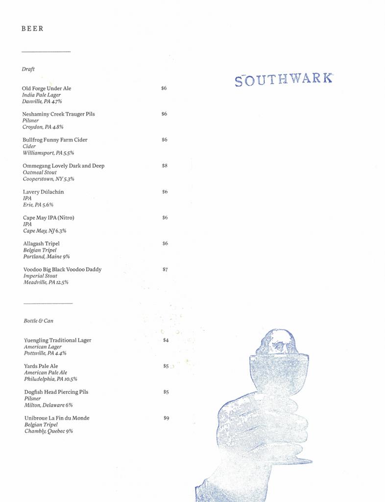 southwark opening beer list