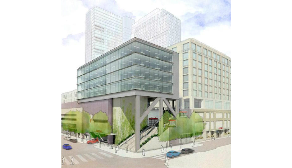 Will an open stairway lure visitors to the rooftop shopping village at 1001 South Broad any more than an enclosed one would? Rendering | Cope Linder Architects