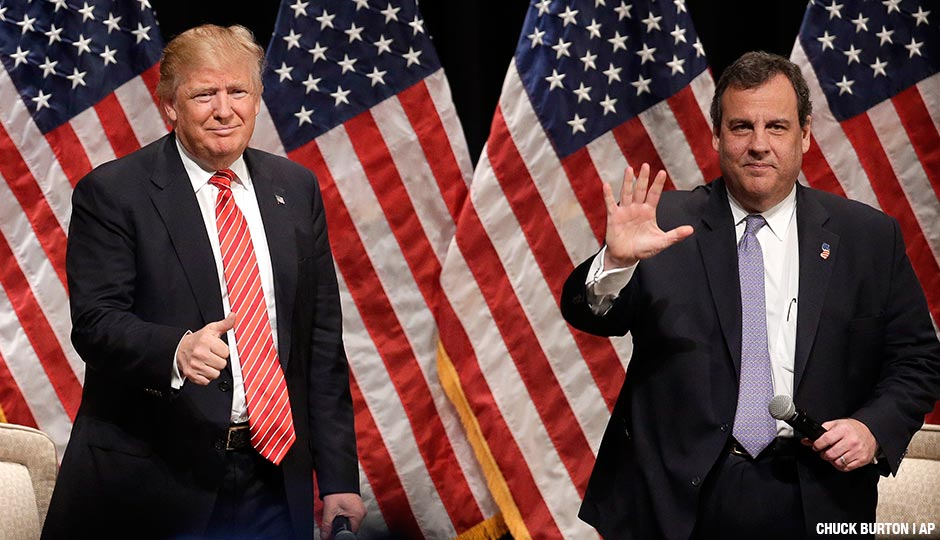 Republican presidential candidate Donald Trump, left, gives a thumbs up to the crowd as he is introduced by New Jersey Gov. Chris Christie, right, at a rally at Lenoir-Rhyne University in Hickory, N.C., Monday, March 14, 2016.