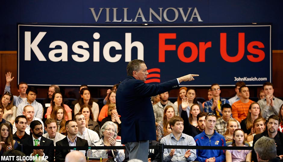 Republican presidential candidate Ohio Gov. John Kasich gestures while speaking at a town hall event at Villanova University, Wednesday, March 16, 2016, in Villanova, Pa.