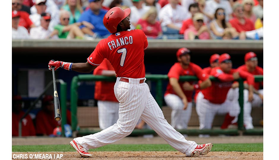 Maikel Franco hits a three-run home run off Pirates relief pitcher Guido Knudson on Friday, March 18th.