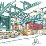 """What Old City residents who attended last night's """"Vision 2026"""" workshop said they most wanted to see was something like this under the Ben Franklin Bridge. Rendering   Atkin Olson Schlade via Old City District"""