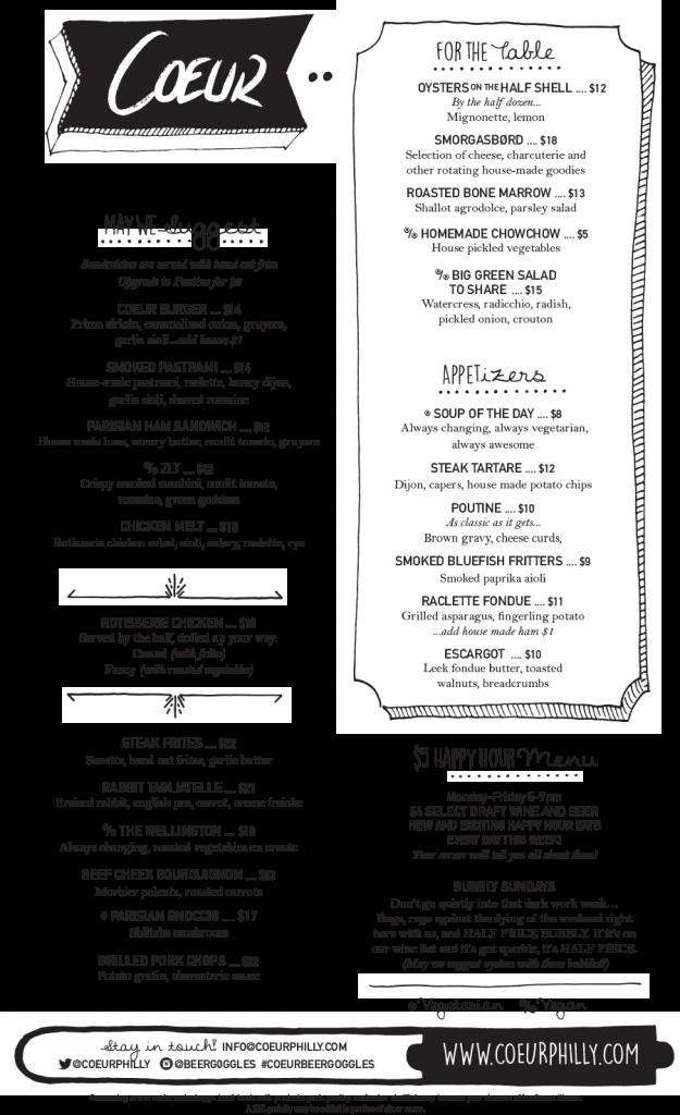 New menu at Coeur