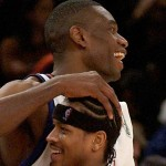 New York Knicks Dikembe Mutombo pats Philadelphia 76ers Allen Iverson on the head after the Knicks defeated the 76ers 99-88, Saturday, Nov. 22, 2003 at Madison Square Garden in New York.