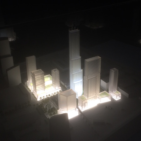 A lit model of Schuylkill Yards was on display at the formal announcement. Photo | Sandy Smith