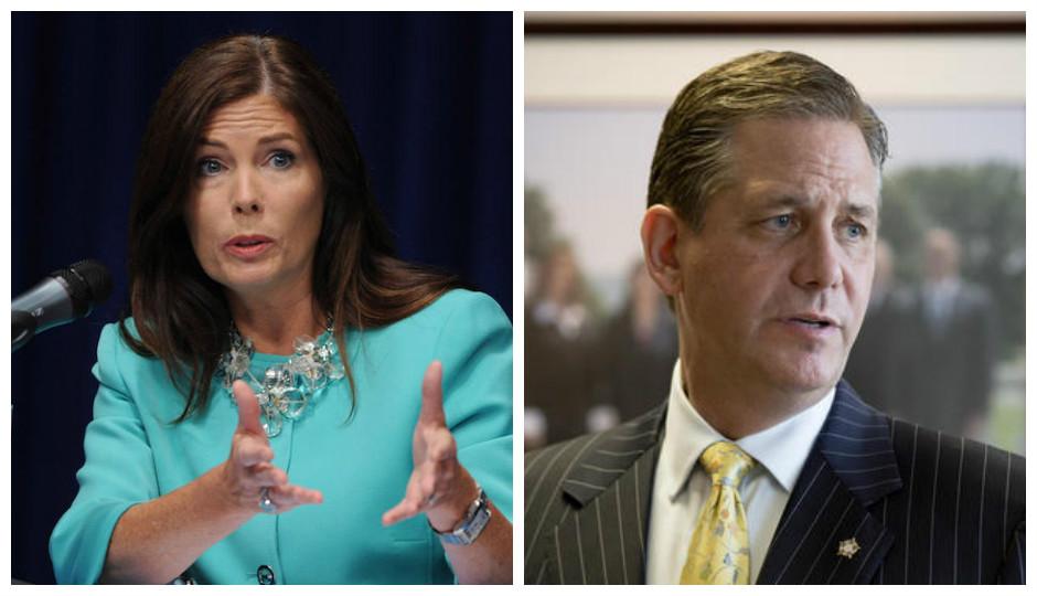 Kathleen Kane (Bradley C. Bower/AP), left, Bruce Castor (Matt Rourke/AP), right