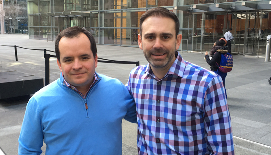 OneTwoSee co-founder Chris Reynolds and Preston Smalley, vice president of product, sports & X1 Apps for Comcast.