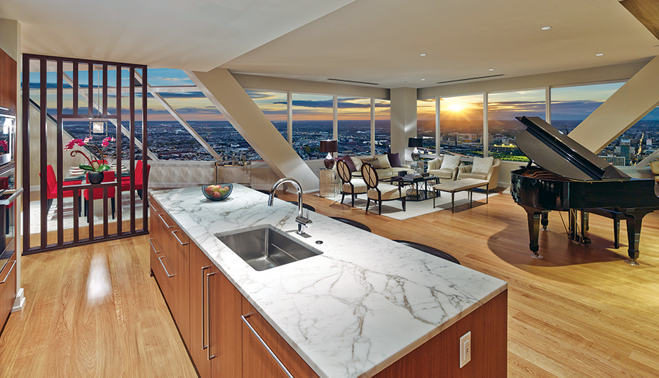 On the market: $2.25 million. The Residences at Two Liberty Place, Rittenhouse. What you get: A 54th-floor penthouse with sweeping city views, three bedrooms, four bathrooms, custom wood flooring, and a top-of-the-line kitchen with marble countertops. Photo courtesy of Don Pearse.