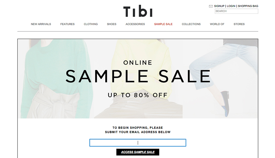 Tibi Sample Sale banner