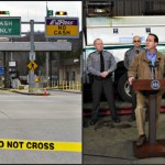 Left, the Fulton County crime scene. Right, PA Turnpike Commissioner Sean Logan addresses the media to discuss the deadly robbery attempt. Source: PA Internet News Service