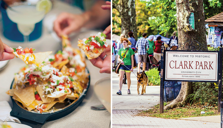 From left: Nachos at Loco Pez in Fishtown; Clark Park in Spruce Hill. From left, photo by M. Kennedy for Visit Philadelphia; Jeff Fusco for Visit Philadelphia.