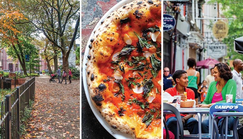From left: Mario Lanza Park in Queen Village; pizza from Bufad in Callowhill; outdoor dining along Market Street in Old City. From left, photo by: R. Kennedy for Visit Philadelphia; James Narog; J. Fusco for Visit Philadelphia.