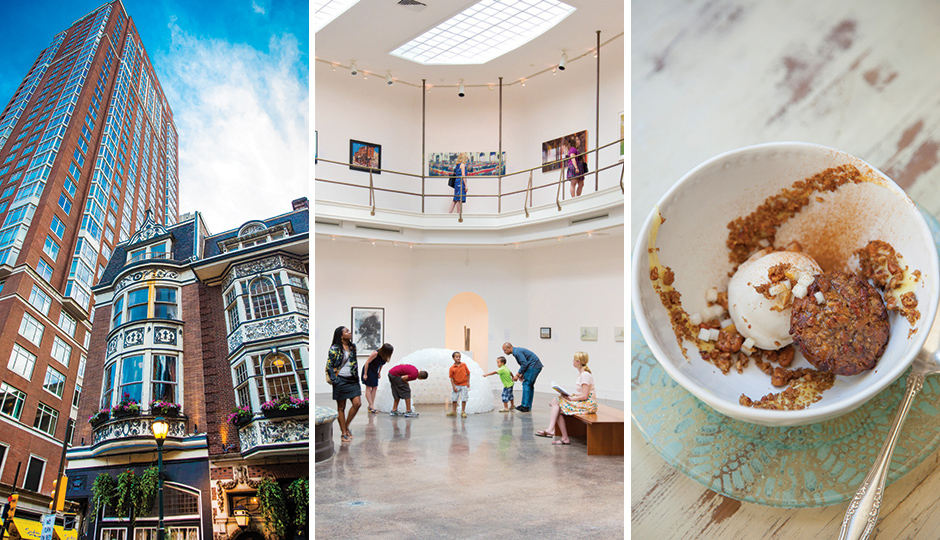 From left: The Dandelion in Rittenhouse; Woodmere Art Museum in Chestnut Hill; dessert from Talula's Garden on Washington Square. From left, photo by: Nell Hoving; J. Fusco for Visit Philadelphia; Courtney Apple.