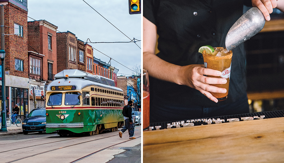 From left: Route 15 trolley rolling down Girard Avenue in Brewerytown; American Sardine Bar in Point Breeze. From left, photo by: Jeff Fusco; Neal Santos.