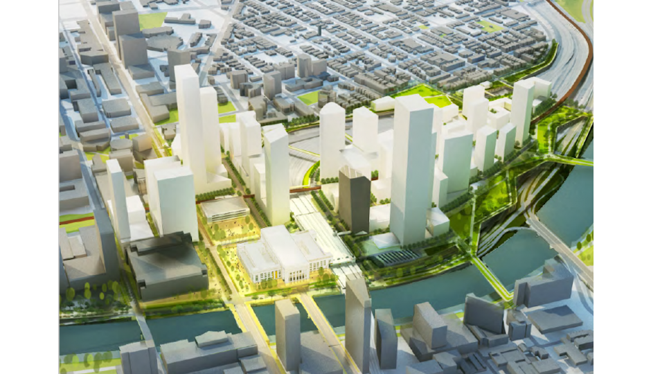 A rendering of what the 30th Street Station area should look like by 2050 from the draft district plan