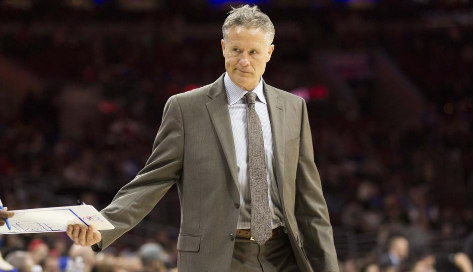 Brett Brown's Philadelphia 76ers fell to 9-64 on the season with a 108-105 loss to the Portland Trailblazers | Bill Streicher-USA TODAY Sports