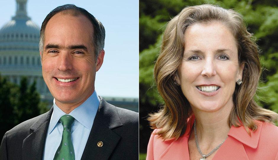 Bob Casey (left), Katie McGinty