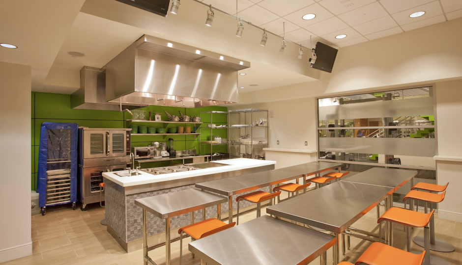 What the demonstration kitchen at Good Food Flats will look like. Image | Cross Properties