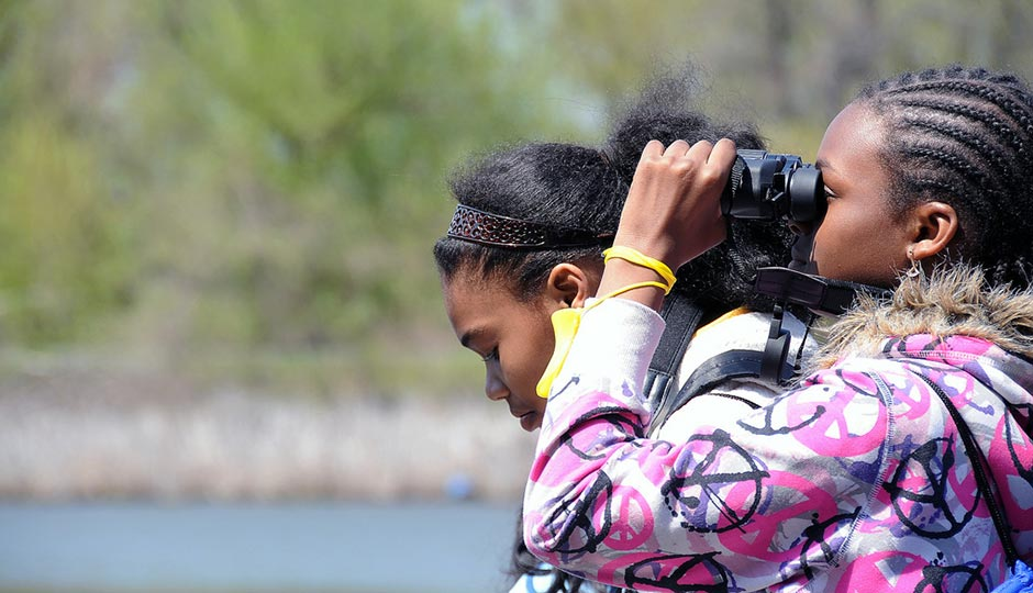 Students from Pepper Middle School, Longstreth Elementary and Norwood Elementary in Philadelphia bird watch on Tinicum Marsh at John Heinz National Wildlife Refuge in Pennsylvania. Photo   USFWS