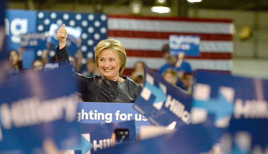 Saint Louis, MO, USA - March 12, 2016: Democratic presidential candidate and former Secretary of State Hillary Clinton campaigns at Nelson-Mulligan Carpenters Training Center in St. Louis. Photo   istockphoto.com/ginosphotos