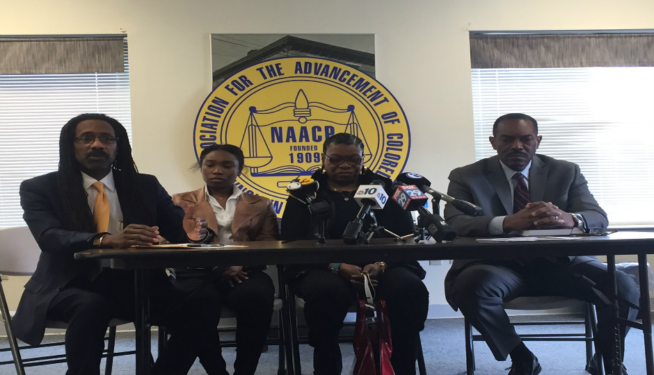 Left to right: Attorney Michael Coard, Cheney Newman, Nicol Newman, NAACP President Rodney Muhammad