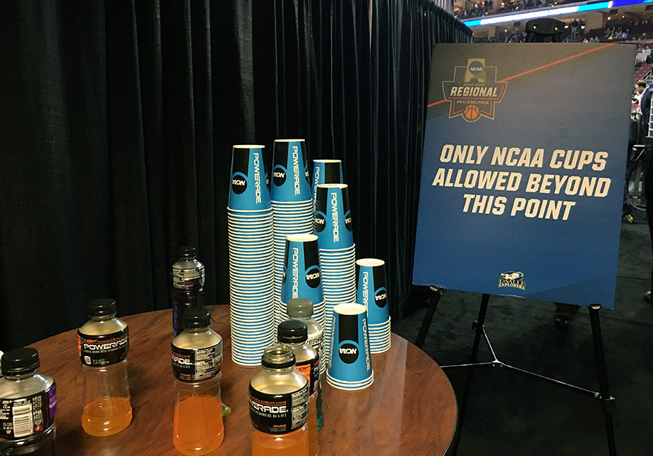 Only NCAA cups allowed beyond this point