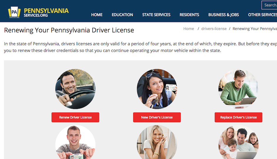 A screenshot of the website that you'd probably think you can use to renew your Pennsylvania driver's license. Looks like the real thing, doesn't it?