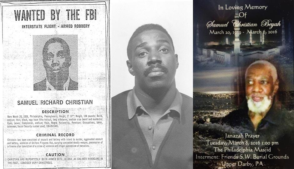 Samuel Christian's FBI Most Wanted poster from late 1973, a mugshot from 1968, and a funeral announcement.