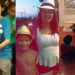Left: Screenshot from video of incident on SEPTA. Middle: Jessica Carrera with son. Right: The children from the video enjoying a snack at Old City's Wexler Gallery, shortly before the video was shot.