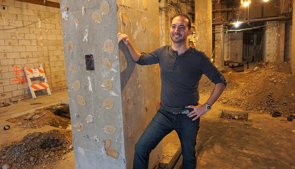 Owner Teddy Sourias in what will become Cinder, a tart beer and cider bar on Locust Street.