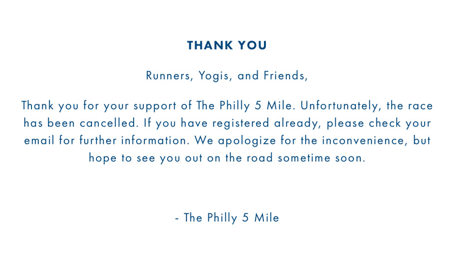 the philly 5 mile canceled