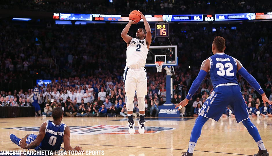 Villanova Wildcats forward Kris Jenkins (2) shoots against the Seton Hall Pirates in the second half of the championship game of the Big East conference tournament at Madison Square Garden.