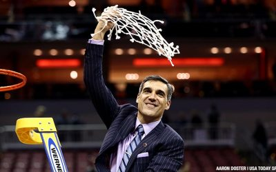 Villanova Wildcats head coach Jay Wright celebrates after winning 2016 national championship title.