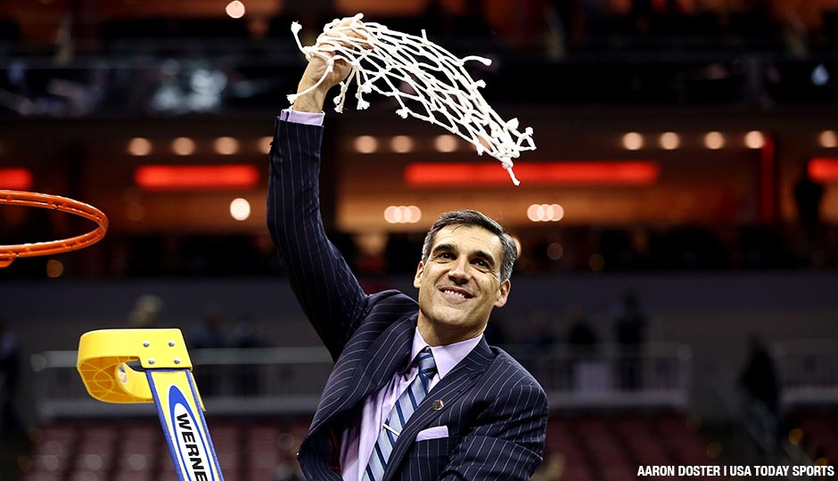 Villanova Wildcats head coach Jay Wright celebrates after beating the Kansas Jayhawks in the south regional final of the NCAA Tournament.