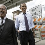 Democratic presidential hopeful, Sen. Barack Obama, D-Ill., center, walks with Rep. Chaka Fattah, D-Pa., left, in Philadelphia, Tuesday, April 22, 2008. (AP Photo/Jae C. Hong)