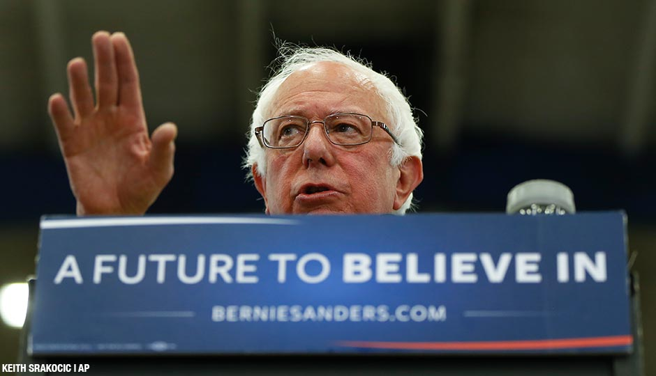 Sen. Bernie Sanders, I-Vt., speaks during a campaign rally at Fitzgerald Fieldhouse on the University of Pittsburgh campus, Monday, April 25, 2016.