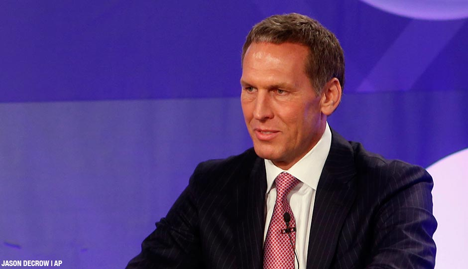 Bryan Colangelo represents the Toronto Raptors during the NBA basketball draft lottery, May 21, 2013.