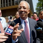 U.S. Rep. Chaka Fattah speaks outside of the federal courthouse in Philadelphia on August 18, 2015.